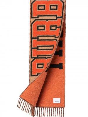 Шарф с логотипом Burberry Kids. Цвет: оранжевый