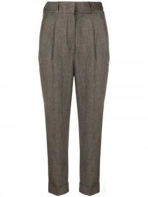Укороченные зауженные брюки Peserico. Цвет: серый