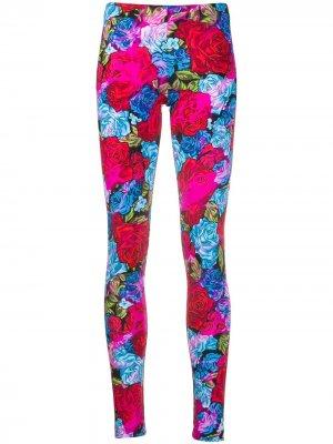 Легинсы с цветочным принтом Versace. Цвет: розовый
