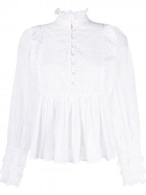 Блузка с вышивкой и складками byTiMo. Цвет: белый