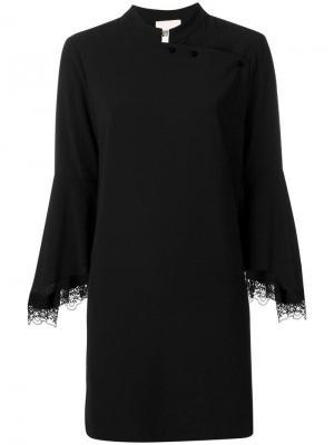 Платье прямого кроя с кружевной отделкой Aniye By. Цвет: черный