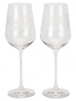 Набор Dragon из двух бокалов для вина Shanghai Tang. Цвет: белый