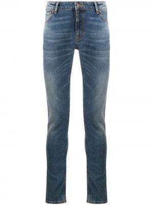 Джинсы Skinny Lin с эффектом потертости Nudie Jeans. Цвет: синий