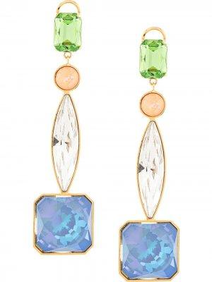 Серьги-подвески с кристаллами Shourouk. Цвет: разноцветный