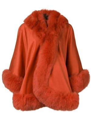 Fox fur trim cape Liska. Цвет: оранжевый