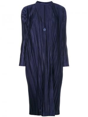 Длинный кардиган со складками Pleats Please By Issey Miyake. Цвет: синий