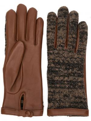 Перчатки с трикотажными деталями Agnelle. Цвет: коричневый