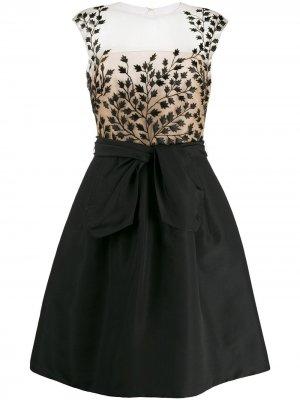 Коктейльное платье с вышивкой Oscar de la Renta. Цвет: черный