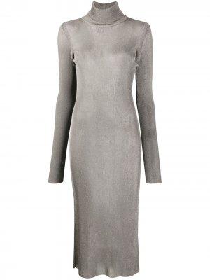 Платье с эффектом металлик Mugler. Цвет: серебристый