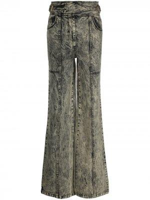 Прямые джинсы из вареного денима Ulla Johnson. Цвет: зеленый