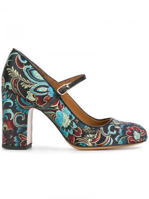 Туфли с цветочным принтом Chie Mihara. Цвет: черный