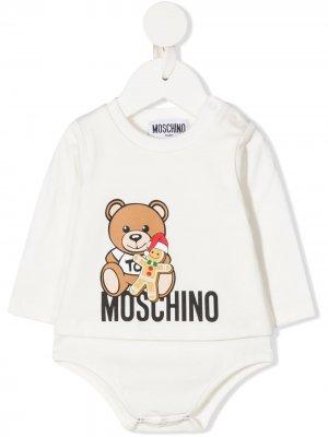 Боди с круглым вырезом и логотипом Moschino Kids. Цвет: белый