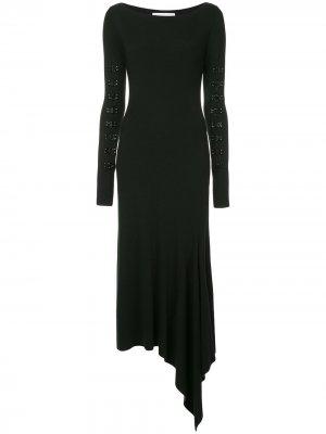 Платье с отделкой крючками Olivier Theyskens. Цвет: черный