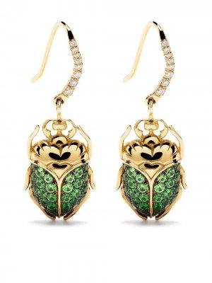Серьги Scarab из желтого золота с цаворитом и бриллиантами Aurelie Bidermann. Цвет: золотистый