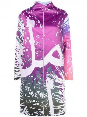 Длинное пальто с графичным принтом Elle B. Zhou. Цвет: фиолетовый