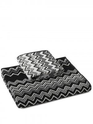 Комплект Keith из двух полотенец с узором шеврон Missoni Home. Цвет: черный