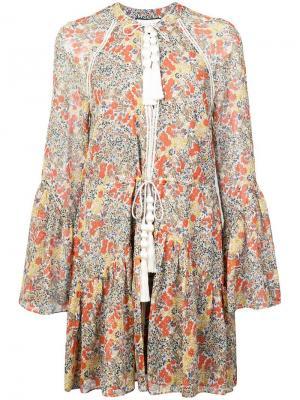 Укороченное платье с цветочным принтом Alexis. Цвет: зеленый
