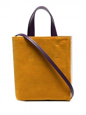 Бархатная сумка-тоут Museo в стиле колор-блок Marni. Цвет: фиолетовый