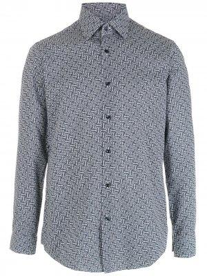 Рубашка с длинными рукавами и геометричным принтом BOSS. Цвет: черный