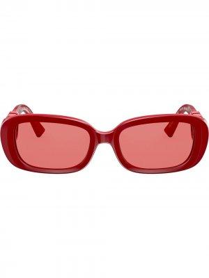 Солнцезащитные очки в овальной оправе с логотипом VLogo Valentino Eyewear. Цвет: красный
