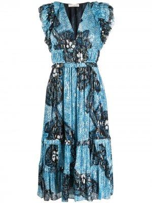 Платье миди Akira с абстрактным принтом Ulla Johnson. Цвет: синий