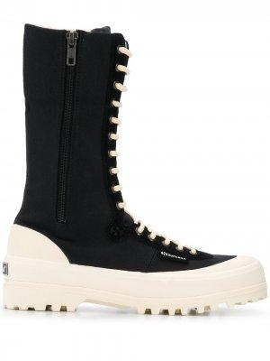 Ботинки в стиле милитари из коллаборации с Paura Superga. Цвет: черный