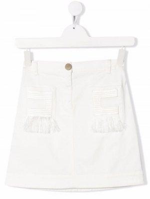 Джинсовая юбка с бахромой Elisabetta Franchi La Mia Bambina. Цвет: белый