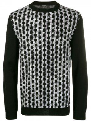 Трикотажный свитер с монограммой Balmain. Цвет: черный