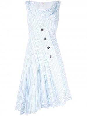 Платье асимметричного кроя в полоску Delpozo. Цвет: белый