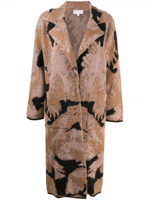Кардиган-пальто с абстрактным узором Lala Berlin. Цвет: нейтральные цвета
