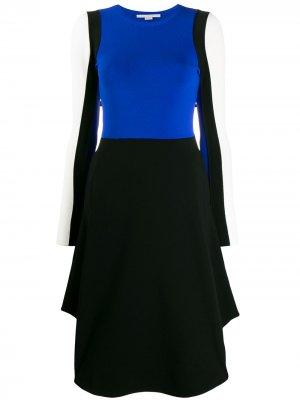 Платье в стиле колор-блок с длинными рукавами Stella McCartney. Цвет: синий