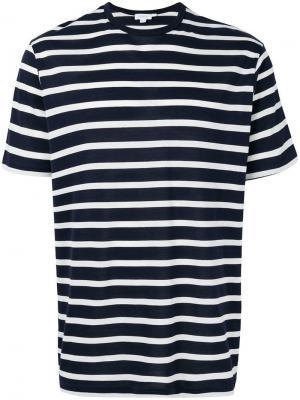 Striped crew neck T-shirt Sunspel. Цвет: синий