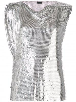 Декорированный топ Paco Rabanne. Цвет: серебристый