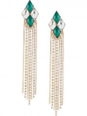 Серьги с кристаллами Anton Heunis. Цвет: зеленый