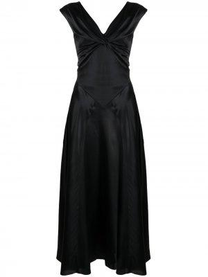 Длинное платье с драпировкой Simone Rocha. Цвет: черный