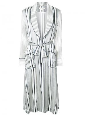 Полосатый свободный халат Jonathan Simkhai. Цвет: белый