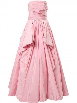 Вечернее платье с открытыми плечами и драпировкой Zuhair Murad. Цвет: розовый