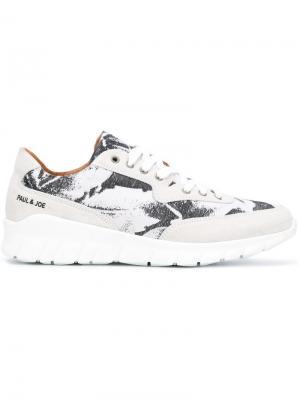 Кроссовки на шнуровке с принтом Paul & Joe. Цвет: белый