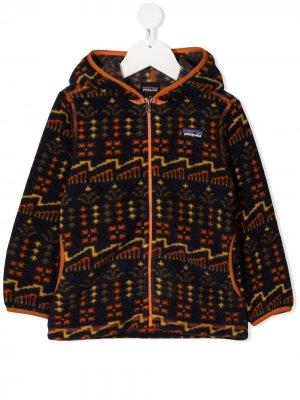 Флисовая куртка с капюшоном Patagonia Kids. Цвет: синий