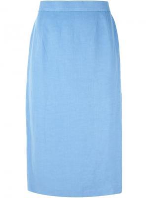 Классическая юбка карандаш Louis Feraud Vintage. Цвет: синий