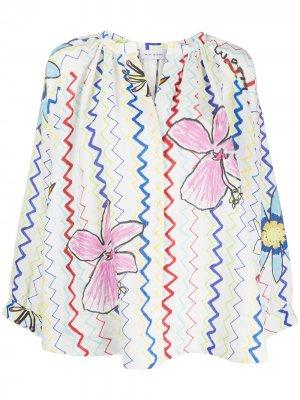 Блузка с принтом Mira Mikati. Цвет: белый
