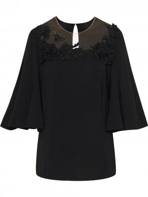 Блузка с цветочной аппликацией Oscar de la Renta. Цвет: черный
