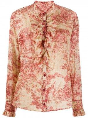 Рубашка с оборками и цветочным принтом Uma Wang. Цвет: красный
