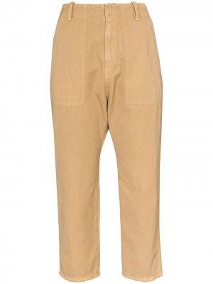 Укороченные зауженные брюки Nili Lotan. Цвет: коричневый