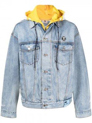 Джинсовая куртка с капюшоном AAPE BY *A BATHING APE®. Цвет: синий