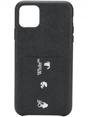 Чехол для iPhone 11 Pro Max из сафьяновой кожи с логотипом Off-White. Цвет: черный