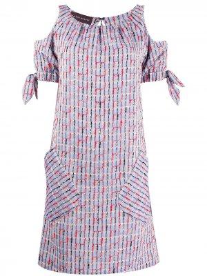 Платье миди с короткими рукавами Talbot Runhof. Цвет: синий