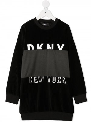 Платье-свитер с логотипом Dkny Kids. Цвет: черный