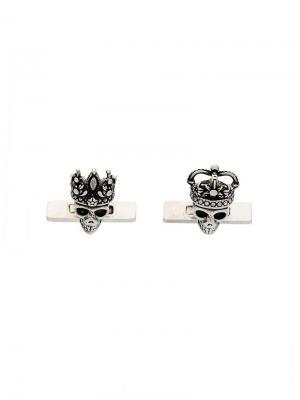 Запонки Queen & King Alexander McQueen. Цвет: металлик