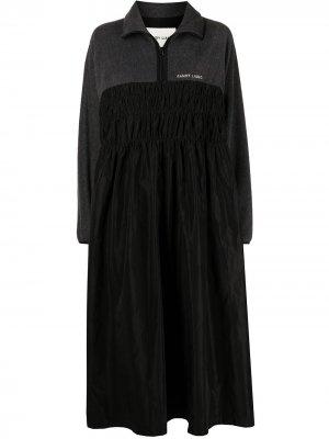 Платье миди Mary со вставками Sandy Liang. Цвет: черный